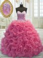 Rose Pink Sweetheart Lace Up Beading and Ruffles Quinceanera Gown Sweep Train Sleeveless