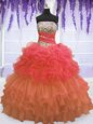Floor Length Multi-color Vestidos de Quinceanera Organza Sleeveless Beading and Ruffled Layers and Pick Ups