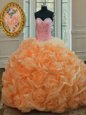 Free and Easy Orange Sleeveless Beading Floor Length Sweet 16 Dress