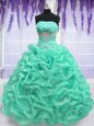 Turquoise Quinceanera Gowns Military Ball and Sweet 16 and Quinceanera and For with Beading Strapless Sleeveless Lace Up