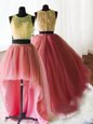 Three Piece Scoop Sleeveless Organza and Tulle and Lace With Brush Train Zipper Quinceanera Dress in Watermelon Red for with Beading and Lace and Ruffles