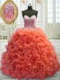 Latest Coral Red 15th Birthday Dress Sweetheart Sleeveless Sweep Train Lace Up