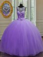 Exquisite Scoop Lavender Tulle Lace Up 15 Quinceanera Dress Sleeveless Floor Length Beading