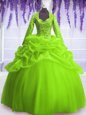 Hot Sale Long Sleeves Floor Length Sequins and Pick Ups Zipper Quinceanera Dresses