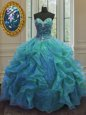 Blue Sleeveless Beading and Ruffles Floor Length Quinceanera Dress