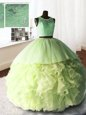 Scoop Sleeveless Organza and Tulle and Lace With Brush Train Zipper Quinceanera Gown in Yellow Green for with Beading and Lace and Ruffles