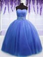 Noble Blue Lace Up 15th Birthday Dress Beading and Belt Sleeveless Floor Length