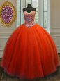 Floor Length Lace Up Vestidos de Quinceanera Red and In for Military Ball and Sweet 16 and Quinceanera with Beading