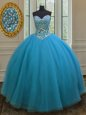 Modest Teal Sleeveless Tulle Lace Up Quinceanera Dress for Military Ball and Sweet 16 and Quinceanera