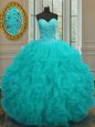 Affordable Aqua Blue Ball Gowns Beading and Ruffles Quince Ball Gowns Lace Up Organza Sleeveless Floor Length