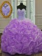 Customized Lavender Quinceanera Dresses Organza Sweep Train Sleeveless Beading