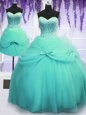 Three Piece Aqua Blue Tulle Lace Up Sweetheart Sleeveless Floor Length Quinceanera Dress Beading and Bowknot