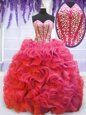 Fitting Coral Red Sweetheart Neckline Beading and Ruffles Quinceanera Gowns Sleeveless Lace Up