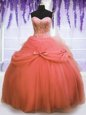 Flare Sleeveless Sweep Train Beading and Ruffles Vestidos de Quinceanera