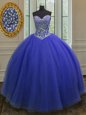 Tulle Sleeveless Floor Length Sweet 16 Quinceanera Dress and Beading