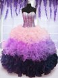 Floor Length Lace Up Sweet 16 Quinceanera Dress Multi-color and In for Military Ball and Sweet 16 and Quinceanera with Beading and Ruffles and Ruffled Layers