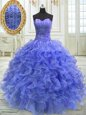 Shining Blue Sweet 16 Dress Military Ball and Sweet 16 and Quinceanera and For with Beading and Ruffles Sweetheart Sleeveless Lace Up