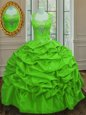 Straps Taffeta Lace Up 15 Quinceanera Dress Cap Sleeves Floor Length Beading and Pick Ups