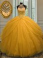 Decent Halter Top Sleeveless Lace Up Sweet 16 Quinceanera Dress Gold Tulle