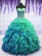Nice Long Sleeves Zipper Floor Length Sequins and Pick Ups Quince Ball Gowns