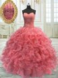 Super Watermelon Red Sleeveless Floor Length Beading and Ruffles Lace Up Sweet 16 Dresses