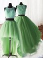 Glittering Three Piece Scoop Yellow Green Zipper Sweet 16 Quinceanera Dress Beading and Lace and Ruffles Sleeveless With Brush Train