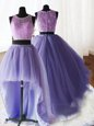 Modest Three Piece Lavender 15th Birthday Dress Military Ball and Sweet 16 and Quinceanera and For with Beading and Lace and Ruffles Scoop Sleeveless Brush Train Zipper