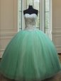 Floor Length Apple Green 15th Birthday Dress Organza Sleeveless Beading