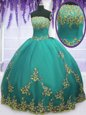 Aqua Blue Tulle Zipper Strapless Sleeveless Floor Length Sweet 16 Dress Appliques