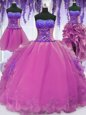 Beauteous Four Piece Lilac Lace Up Sweetheart Appliques and Embroidery Sweet 16 Quinceanera Dress Organza Sleeveless