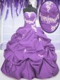 Extravagant Lavender Lace Up Quinceanera Dresses Appliques and Pick Ups Sleeveless Floor Length