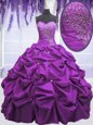 Floor Length Lace Up Quince Ball Gowns Purple and In for Military Ball and Sweet 16 and Quinceanera with Appliques and Pick Ups