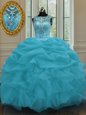 Pretty Beading and Belt Quinceanera Dress Baby Blue Lace Up Sleeveless Floor Length
