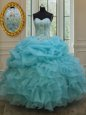 Pick Ups Floor Length Ball Gowns Sleeveless Baby Blue Quinceanera Dresses Lace Up