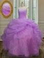 Gorgeous Sweetheart Sleeveless Sweet 16 Quinceanera Dress Floor Length Beading and Ruffles and Sequins Multi-color Tulle