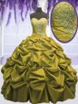 Elegant Sweetheart Sleeveless 15th Birthday Dress Floor Length Beading and Appliques and Pick Ups Brown Taffeta