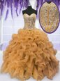 High Class Gold Sleeveless Organza Lace Up Quinceanera Dresses for Military Ball and Sweet 16 and Quinceanera