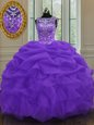 Custom Fit Eggplant Purple 15 Quinceanera Dress Military Ball and Sweet 16 and Quinceanera and For with Beading and Pick Ups Scoop Sleeveless Lace Up