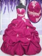 Sleeveless Lace Up Floor Length Appliques and Ruching and Pick Ups Quinceanera Gowns