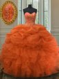 Orange Red Sweet 16 Quinceanera Dress Military Ball and Sweet 16 and Quinceanera and For with Beading and Ruffles and Pick Ups Sweetheart Sleeveless Lace Up