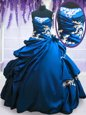 Royal Blue Strapless Neckline Appliques and Pick Ups 15th Birthday Dress Sleeveless Lace Up