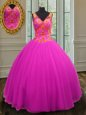 Fancy Beading Sweet 16 Dresses Fuchsia Zipper Sleeveless Floor Length
