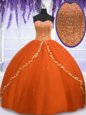 Ball Gowns 15th Birthday Dress Orange Red Sweetheart Tulle Sleeveless Floor Length Lace Up
