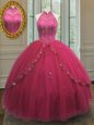 Halter Top Hot Pink Tulle Lace Up Quince Ball Gowns Sleeveless Floor Length Beading and Appliques