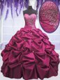 Lovely Taffeta Sleeveless Floor Length Sweet 16 Dresses and Beading and Appliques and Pick Ups