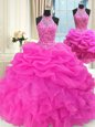 Adorable Three Piece Hot Pink Organza Lace Up High-neck Sleeveless Floor Length Sweet 16 Dresses Beading and Pick Ups