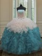 Ball Gowns Quinceanera Dresses Blue And White Strapless Organza Sleeveless Floor Length Lace Up