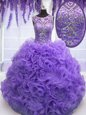 Scoop Sleeveless Quinceanera Gowns Floor Length Beading and Ruffles Lavender Organza