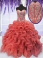 Adorable Sweetheart Sleeveless Organza Sweet 16 Dress Beading and Ruffles Lace Up
