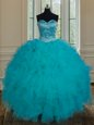 Fantastic Floor Length Teal Sweet 16 Quinceanera Dress Sweetheart Sleeveless Lace Up